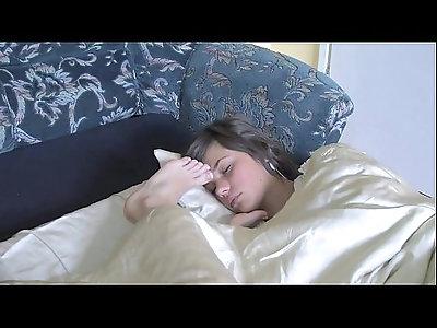 girls sleeping feet in faces