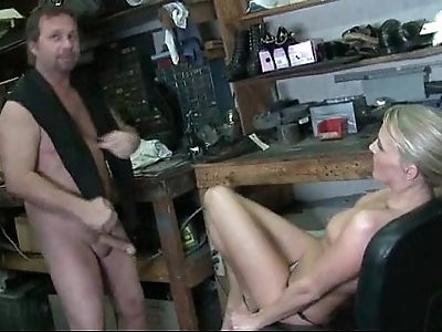 Smoking hot MILF on heels riding loaded dick on a chair at work