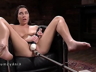 Natural babe gets hard anal fucking machine