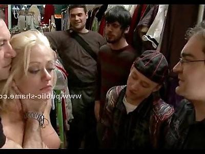 Busty tied whore in public deepthroat
