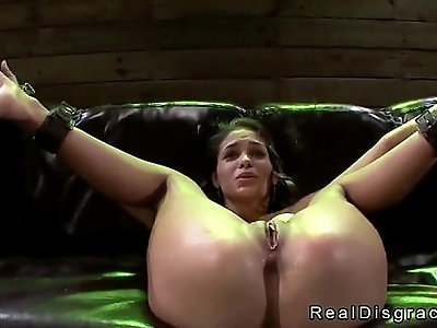 Chained and blindfolded brunette Jasmine Caro pussy finger fucked by machine