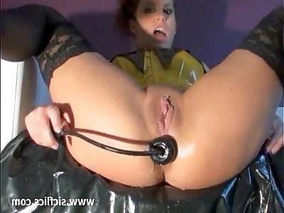 Hot brunette minx fist fucking her asshole till orgasms