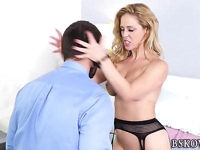 Pornstar gets shaved pussy eaten