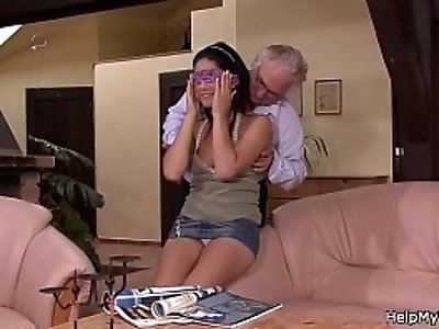 Old man asks him fuck wife for money