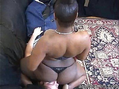 Ebony mistress farts straight to mans face