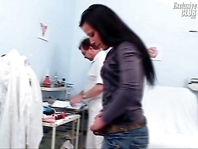 Hairy pussy of a teen Katie gyno speculum examination at gyno