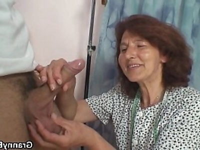 Sewing granny takes white cock
