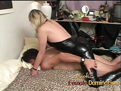 Wife gets her throat fucked then returns the favor with a strap