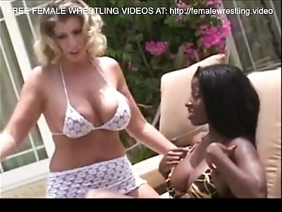 Interracial lesbian wrestling catfight