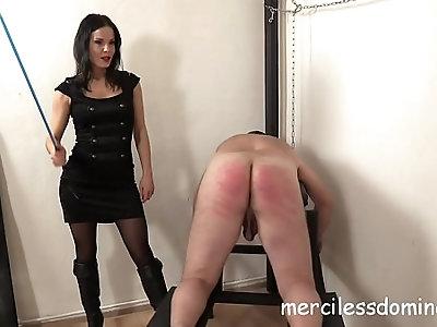 Lady g spanks her slave painful punishment