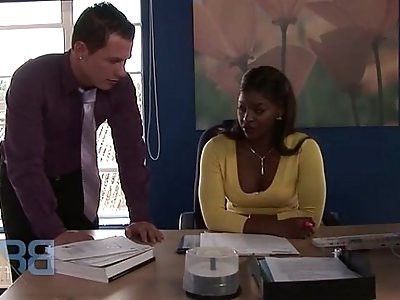 Sexy Jasmine Webb fucking her pussy with boss at work