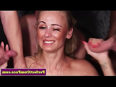 English spunk babe drenched with cum in group