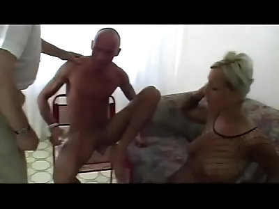 fishnet slut rimming a lucky guy