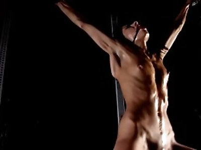 Skinny BDSM pornstar Victoria Rose nude oiled whipping