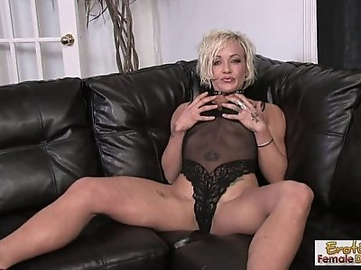 Lonely, tattooed housewife fucks herself on the couch