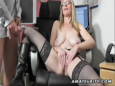 Busty amateur milf sucks fucks her pussy with cum on boots