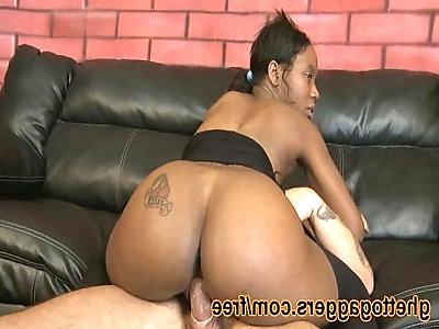 Carmens black ass rides a big white pecker