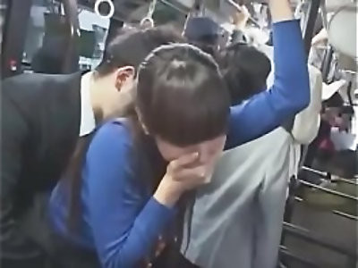 japanese girl in turtleneck has oral in bus
