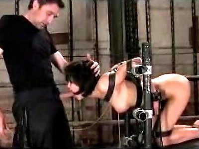 Girl Tied To Chair In Doggy Mouthgag Getting Her Mouth Fucked Pussy gets Fucked In The Basement