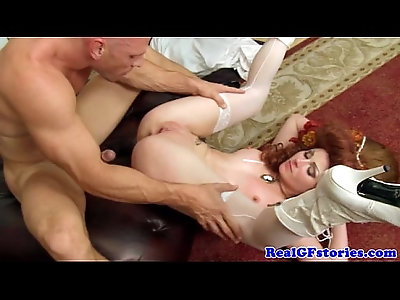 Real gf in costume drilled with monster cock