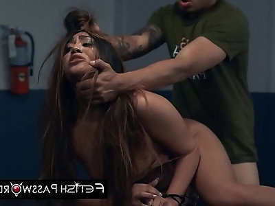 Teen slut Lexy Bandera smashed roughly by a police officer