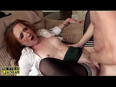 Ginger brit sub slut dominated in stockings